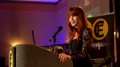Patricia at the first annual Flat Earth International Conference in Raleigh, NC, 2017