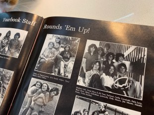 Patricia Steere, top right, as part of the yearbook staff.